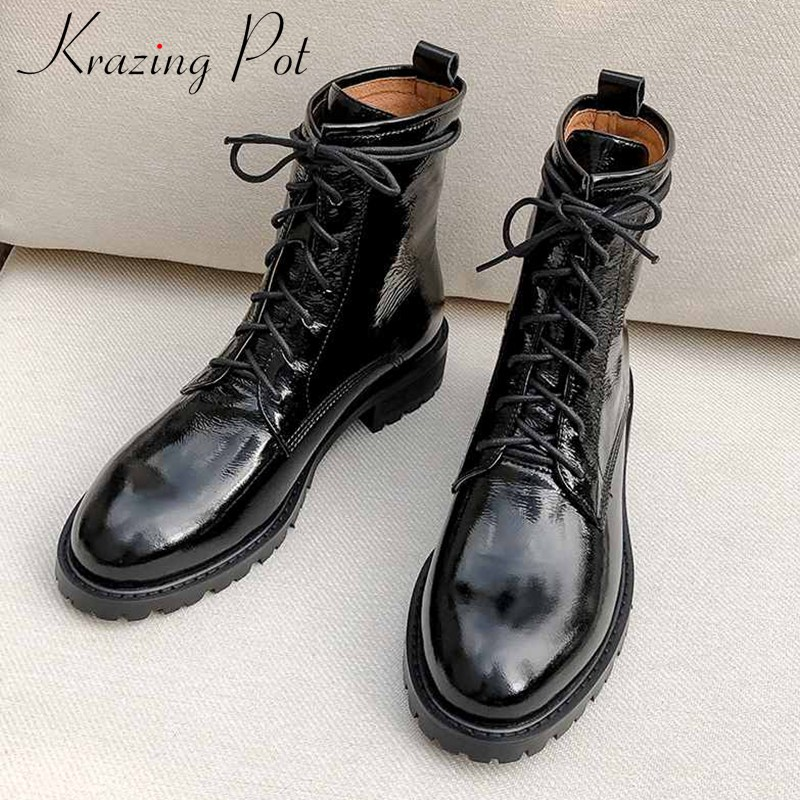 krazing pot genuine leather boots round toe med heels casual lace up keep warm beauty lady daily wear fashion ankle boots L62