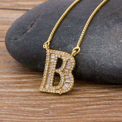 Luxury Gold Color A-Z 26 Letters Necklace CZ Pendant for Women Cute  Initials Name Necklace Fashion Party Wedding Jewelry Gift 22