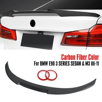 Glossy Black/carbon fiber Style ABS trunk spoiler Wing-M4 STYLE FOR 2006-2011 For BMW E90 3 SERIES SEDAN & M3 2008-12 image