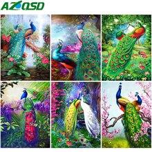 AZQSD 5D Diamond Painting Peacock Cross Stitch DIY Diamond Embroidery Animal Needlework Handmade Home Decor Gift Rhinestones цена 2017