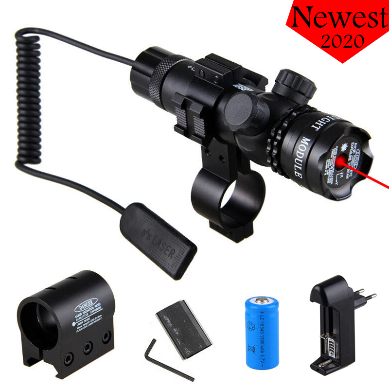 Tactical Hunting Laser Pointer Sight Green/Red Dot Rifle Mount Compact Scope Airsoft Sport Rail & Barrel Pressure Switch Mount