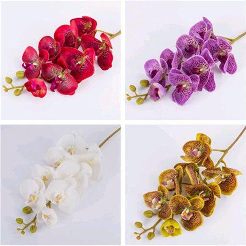 Один искусственный фаленопсис цветы орхидеи 100 см настоящий сенсорный латекс высокое качество Бабочка орхидеи стволовые растения Силиконо...