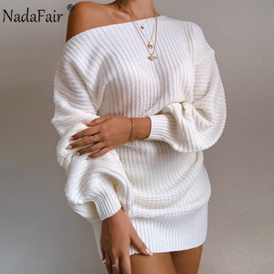 Nadafair Sexy One Shoulder Knitted Women Winter Dresses Mini Wrap Party Autumn Lantern Sleeve Oversized White Sweater Dresses(China)