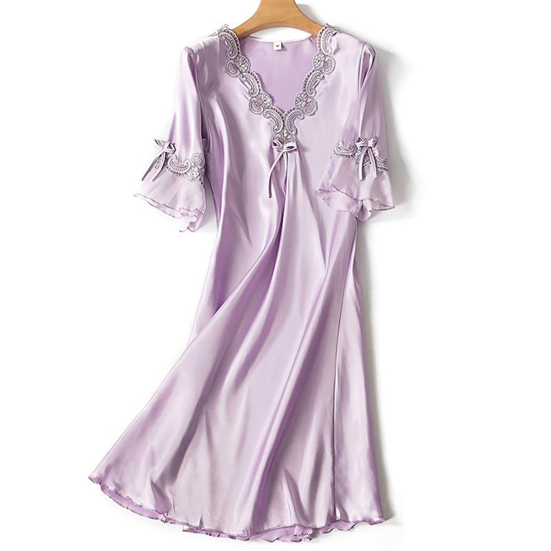 Hf4cf6cc552484aca910b1386627c3ce4e Sleep Wear V-neck Sleepdress Version Ice Silk Short Sleeve Lace Skirt Nighty Sexy Sleepwear Women Silk Lingerie Sleeping Dress