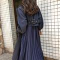 Женский Длинный тренчкот, весенние пальто для женщин, модная плиссированная шифоновая тонкая верхняя одежда со складками, свободный тренчк...