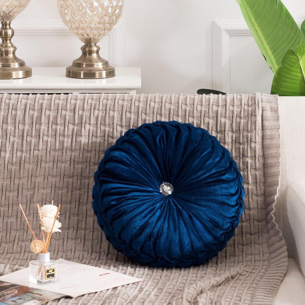 Hf4cf803228bb403597462b701d8cb2d7o European Pastoral Style Pumpkin Round Seat Cushion/Back Cushion or as Sofa pillow Velvet Fabric 35x35cm 9 Colors