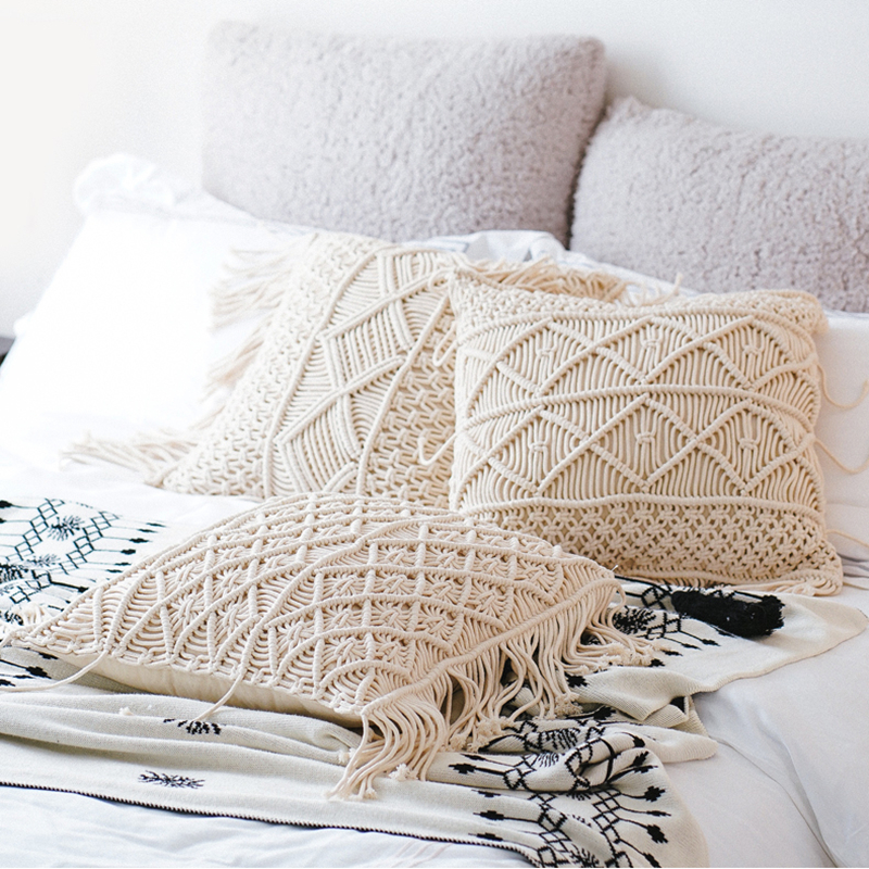 45x45cm Bohemian Hand Woven Cotton Rope Cushion Cover Beige Throw Pillowcase Fringes Lumbar Pillow Cover For Backrest Home Decor