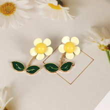 1 Pair Cute Sweet Small Flower Sun Flower Green Leaf Stud Earring Girl Ear Accessories Sweet And Romantic Jewelry Accessories(China)