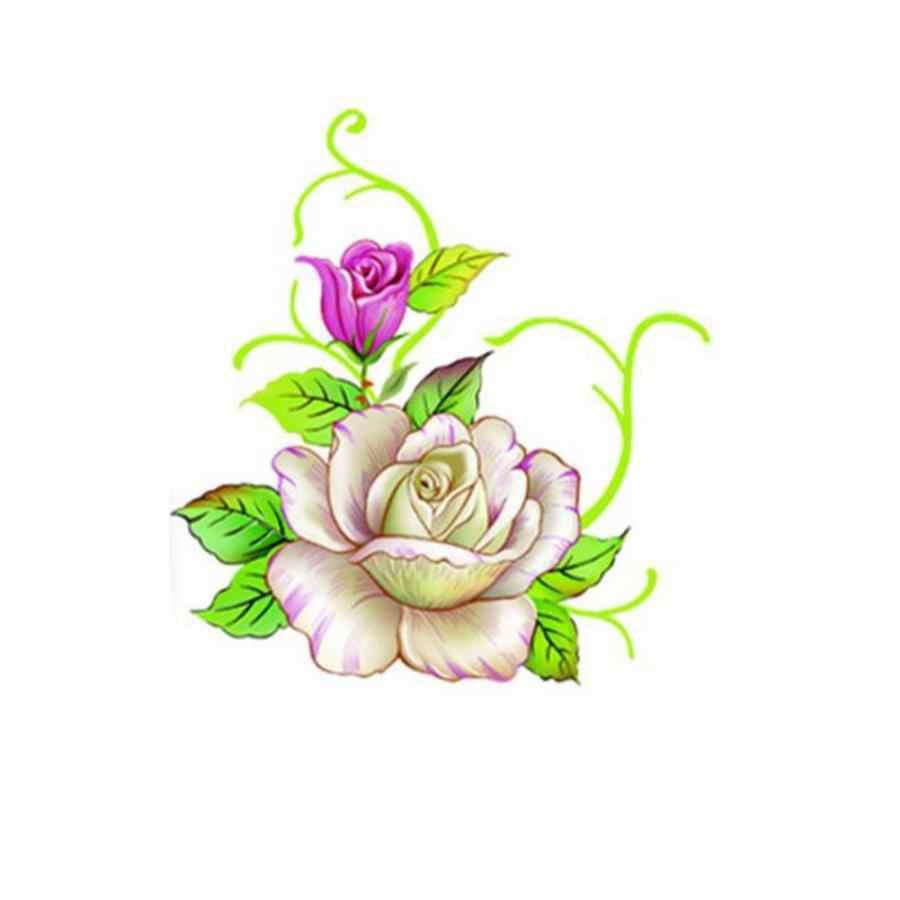 3D เล็บประดิษฐ์ดอกไม้รูปร่างเคล็ดลับสติ๊กเกอร์ Decals ตกแต่งเล็บสติกเกอร์ฟอยล์ 1 แผ่น