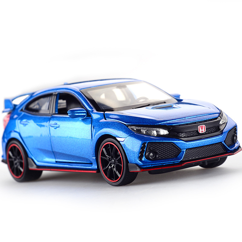 Diecast Model Car Honda Civic Type R 1 32 Metal Alloy Simulation Pull Back Cars Lights
