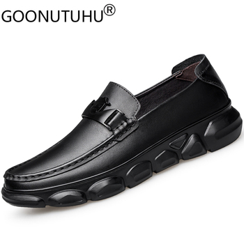 2020 fashion men's shoes casual genuine leather laofers male nice black slip on shoe man waterproof flats driving shoes for men
