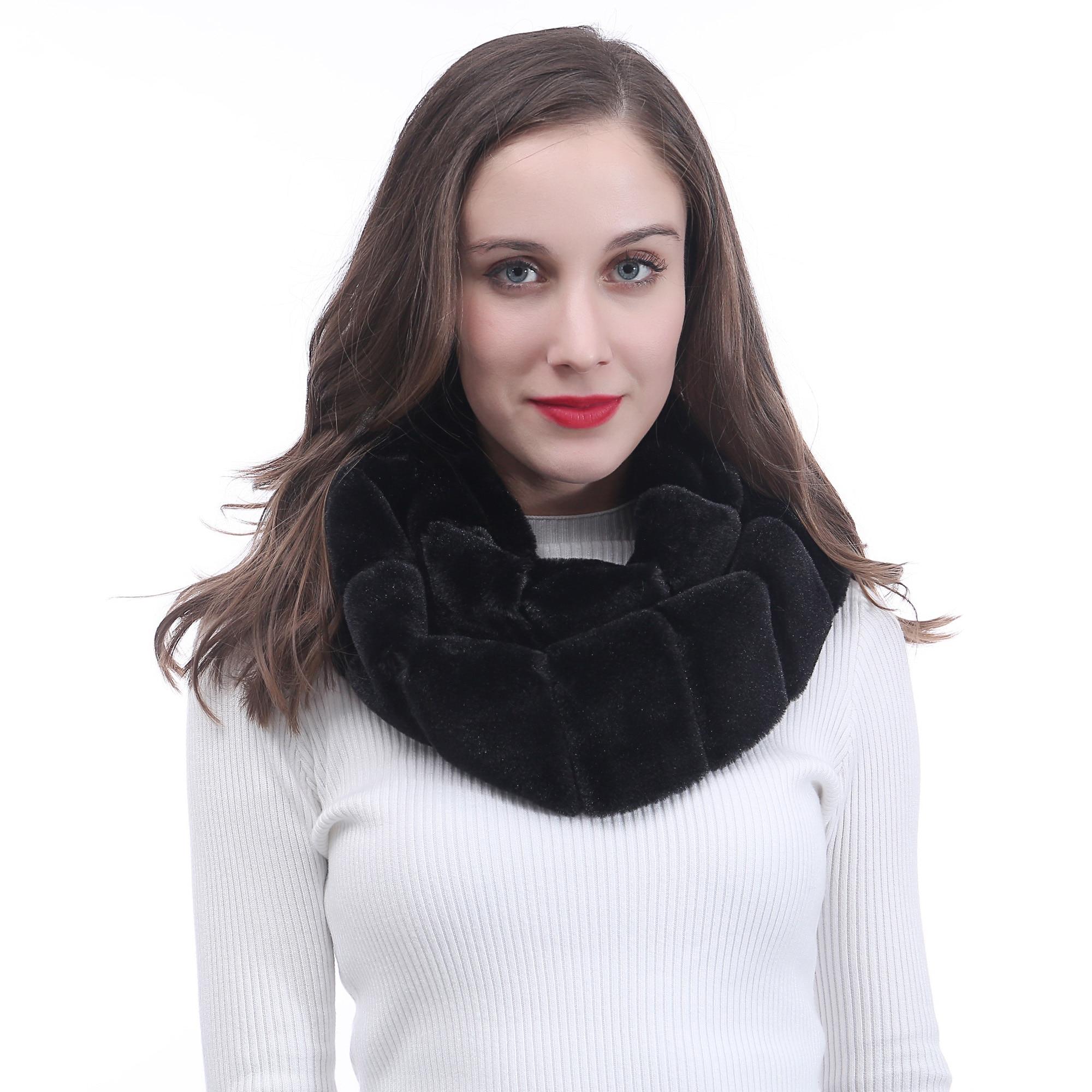 Inverno feminino pele do falso duplo laço cachecol snood pescoço mais quente macio quente