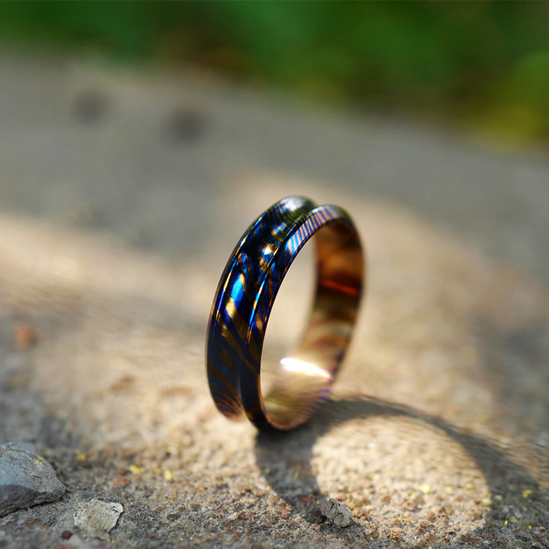 Titanium Damascus Ring Metal Exquisite Blue Titanium Damascus Scratch-resistant Wear-resistant Rust-proof Ring Gift