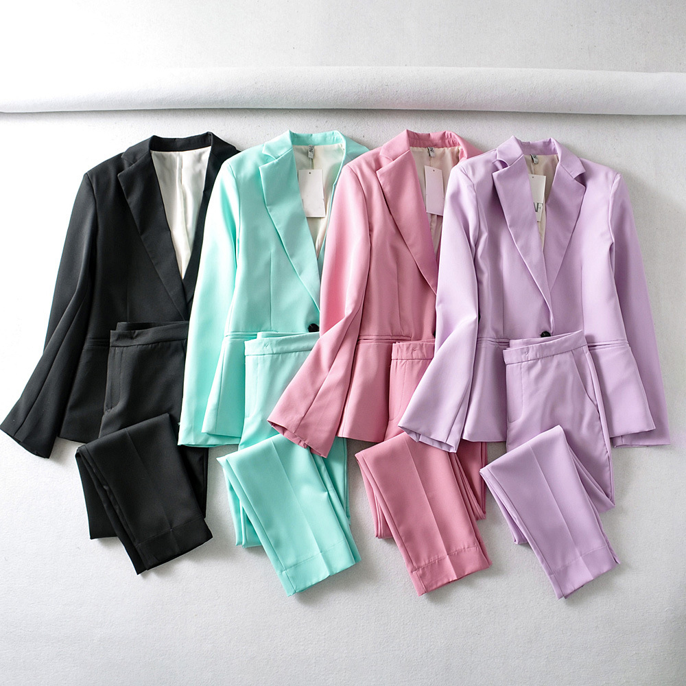 Hf4cfba58661d4a8aa168250885039d53W - Autumn Women Pant Suits Pink Single Button Blazer Jacket+Zipper Trousers Office Ladies Suits Two Piece Set Female Outwear