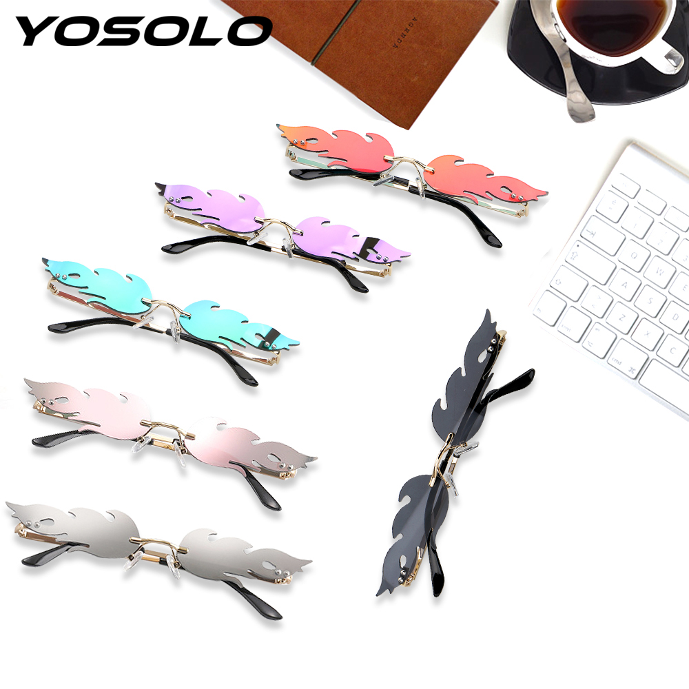 YOSOLO Fire Flame Sunglasses Streetwear Eyewear Fashion Women Rimless Wave Sunglasses