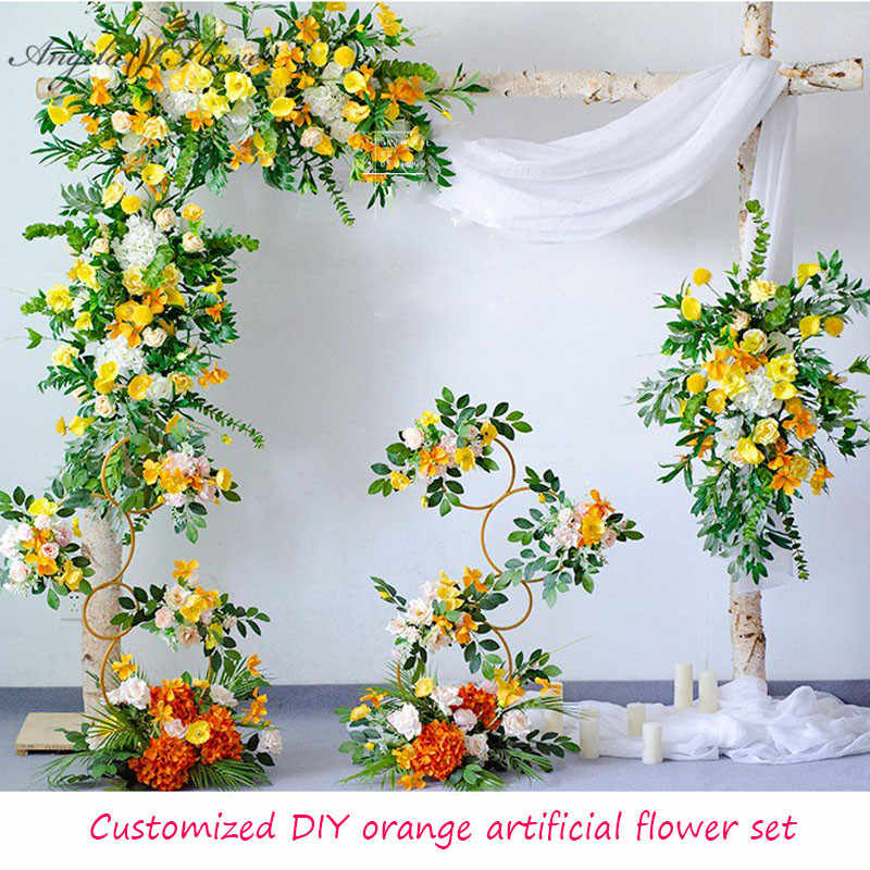 Customized Diy Orange Artificial Flower Row Wedding Arch Floral Yellow Flower Arrangement Decor For Home Party Event Photo Props Artificial Dried Flowers Aliexpress