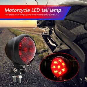 Image 1 - Escudo de metal freio parar lâmpada para cruiser moto dupla moto lanterna traseira 12v retro cruiser motocicleta led lanterna traseira
