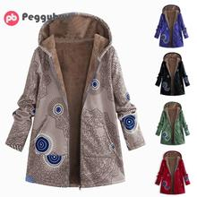 Winter Jacket Women Coat Warm Pockets Zipper Print Ethnic Style Outwear Hooded P