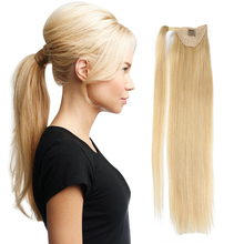 ALI BEAUTY Human Hair Ponytails Ombre Remy European Natural Straight Hair Wrap Around horstail clip ins