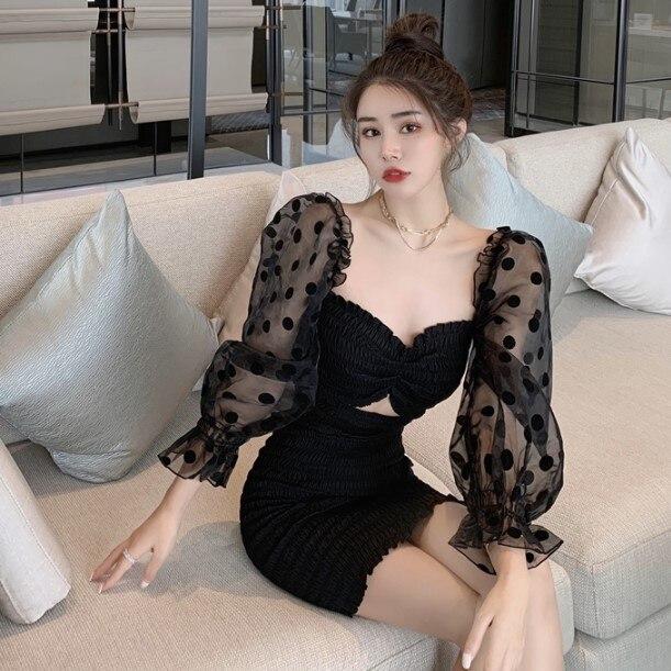 2021 новые весенние квадратный воротник платье сексуальные черные хип-завернутый для похудения одежда с длинным рукавом наряд до талии юбка ...