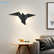 Creative Art Fly Bird Wall Lamp Gold Black White Iron Sconces Home Indoor LED Wall Dcorative Lights for Stair Bedroom Livingroom black round modern led wall lights for home children bedroom led beside lamp wall sconces appliques murales aplik lamba