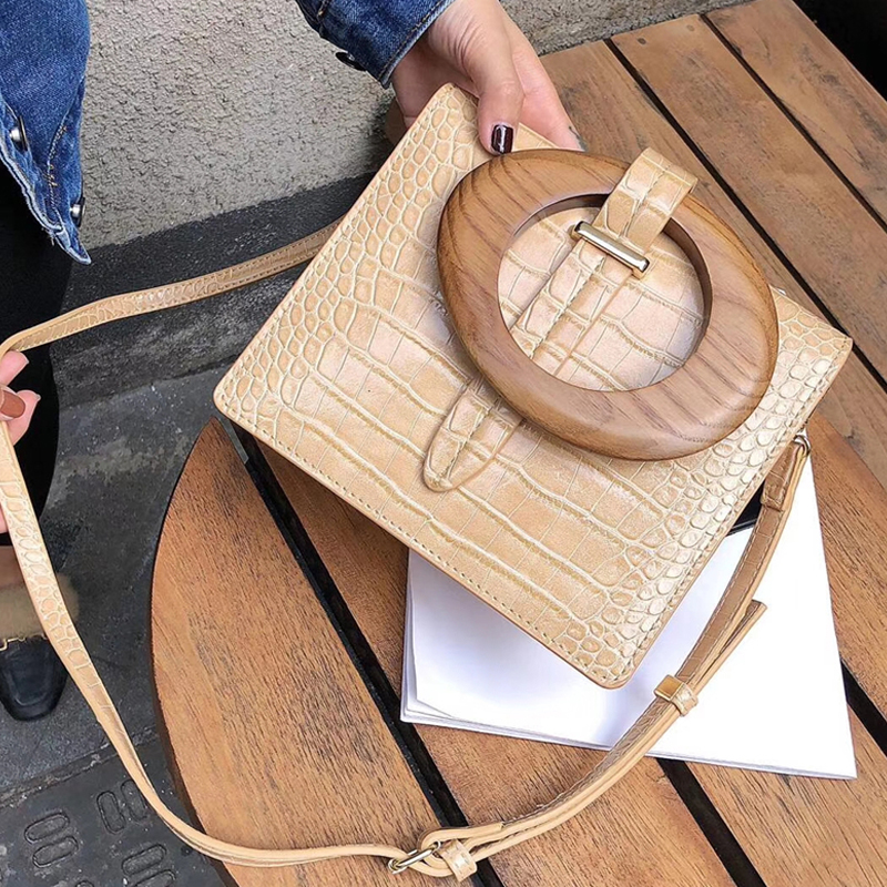 Fashion Alligator Wooden Handle Female Tote Luxury Pu Leather Women Handbgs Designer Crocodile Shoulder Crossbody Bags For Women