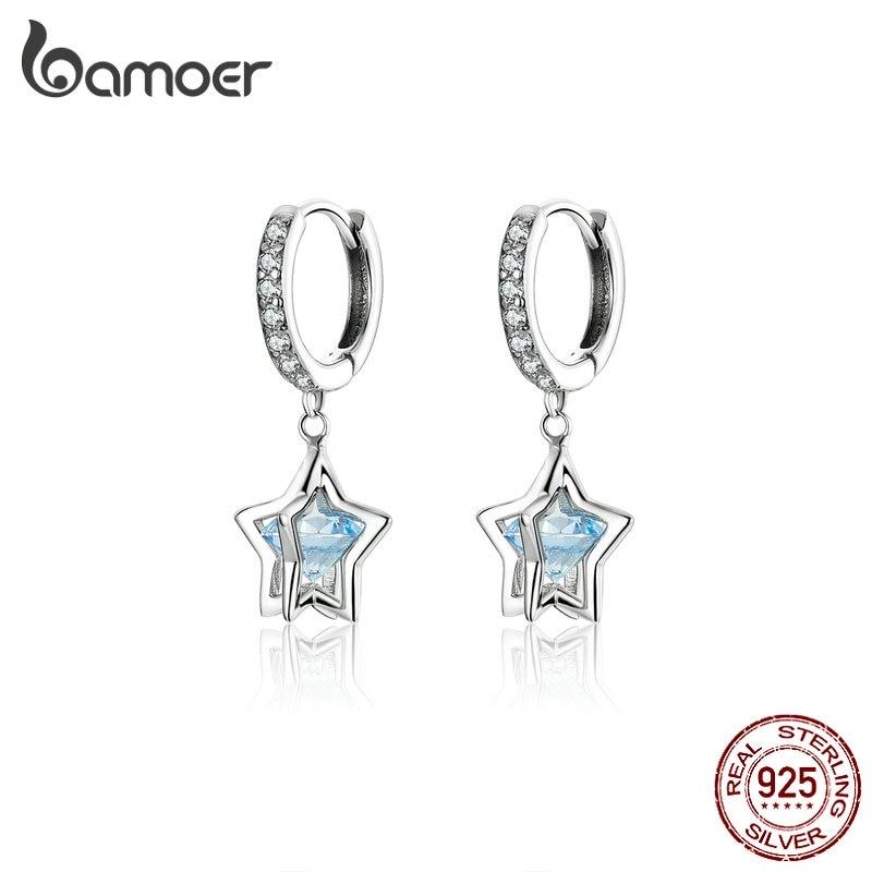 BAMOER Daisy Dangle Earrings Solid Silver 925 Austria Crystal Star Drop Earing For Women Wedding Statement Jewelry BSE316