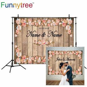 Image 2 - Allenjoy photography backdrop vintage wedding photocall wood flowers custom backdrop photo background studio photozone vinyl