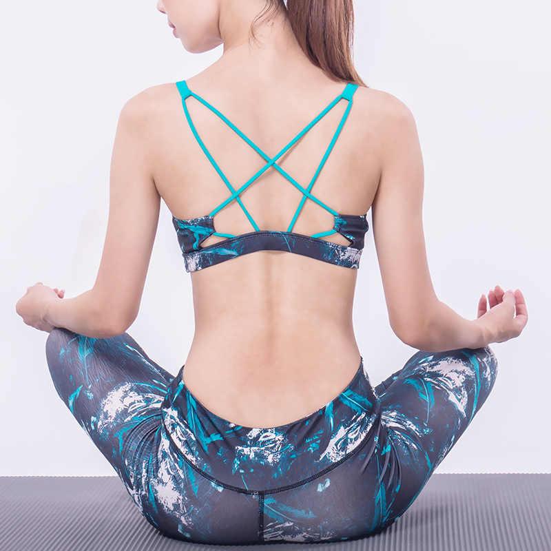 MEIERSES drukowane sportowe biustonosz dla kobiet Strappy Fitness joga biustonosz siłownia top z usztywnieniem i wycięciami Plus rozmiar oddychające wygodne Active Wear