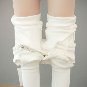 Image 1 - Autumn Winter Plus Velvet Thick Women Leggings Long Trousers Pencil Pants White Black Stretch Skinny High Waist Leggings C5782