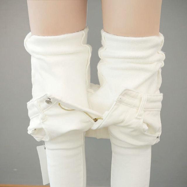 Autumn Winter Plus Velvet Thick Women Leggings Long Trousers Pencil Pants White Black Stretch Skinny High Waist Leggings C5782