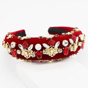 Image 2 - Nouveau Baroque européen et américain industrie lourde mode sauvage strass perle métal fleur tempérament luxe bandeau 885