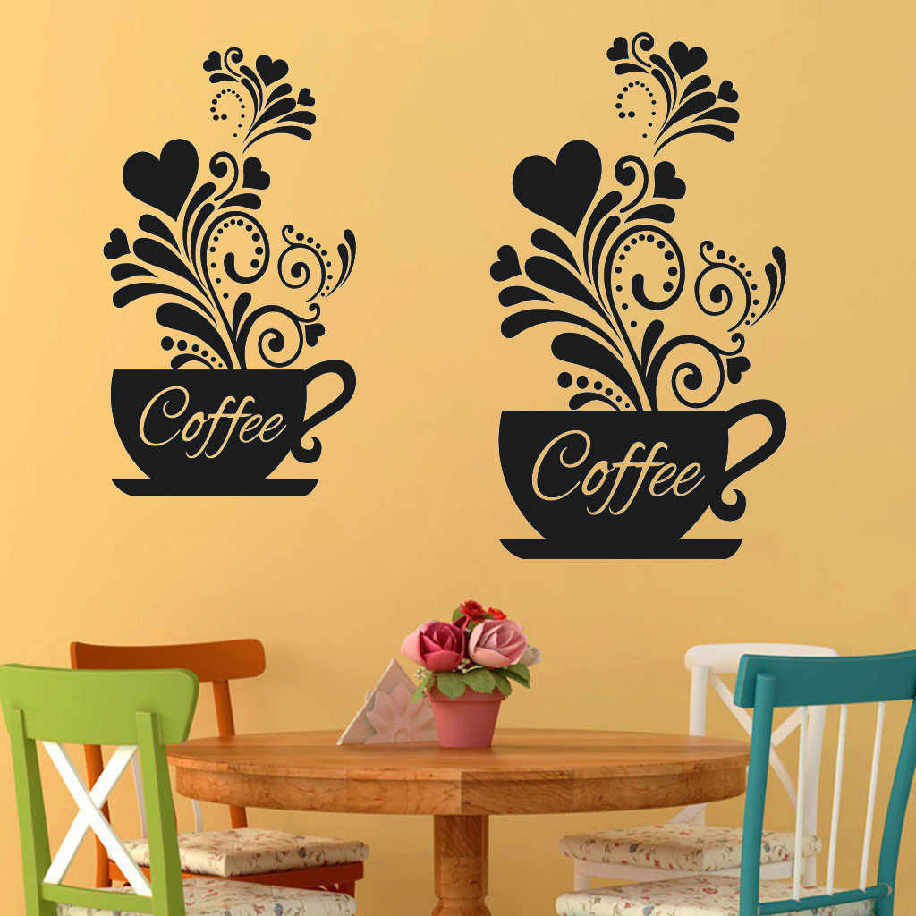Wallpaper Sticker Removable Waterproof Flower Vine Coffee Cup Wall Sticker For Cafe Restaurant Decoration Decals Stickers Wall Stickers Aliexpress