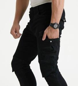Image 5 - גברים של אופנוע אופנתי צמר חם חורף ג ינס Slim מקרית הגנה החטוב להפליא Motorpool CargoStyle רב כיס רכיבה מכנסיים