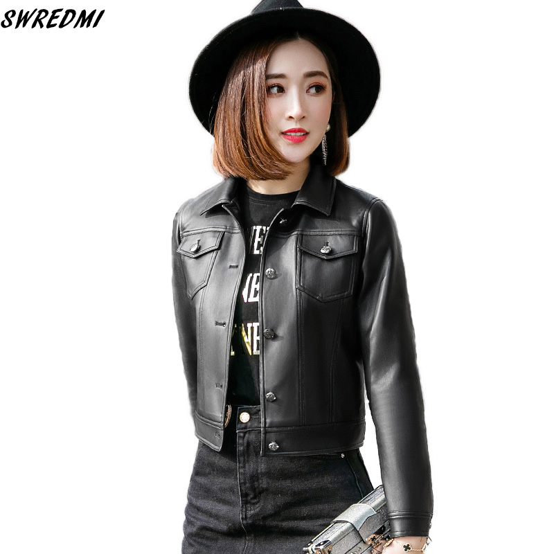 SWREDMI Casual Women   Leather   Jacket Spring And Autumn Outerwear Black   Leather   Clothing XS-2XL England Style   Leather   Coat Gilrs