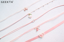 Bowknot Peach Charm Choker Necklace Cute Pink Heart Lace Collar Necklace For Women Fashion Jewelry Japan And Korea Style 2020(China)
