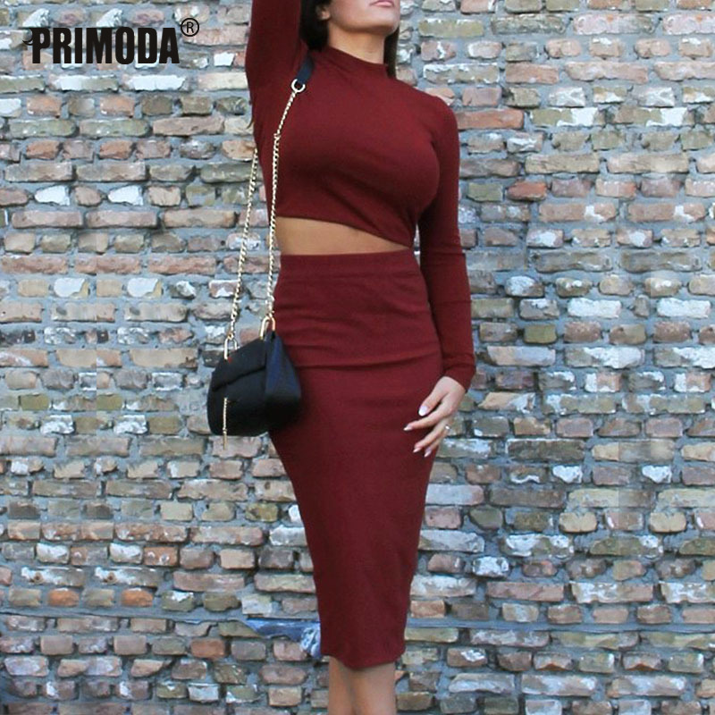 Women Sets Turtleneck Autumn Shorts Tops Mid-Calf Skirts Suits Sexy Club Sets 2 Pieces Slim Wine Red Night Party Outfits PR815G