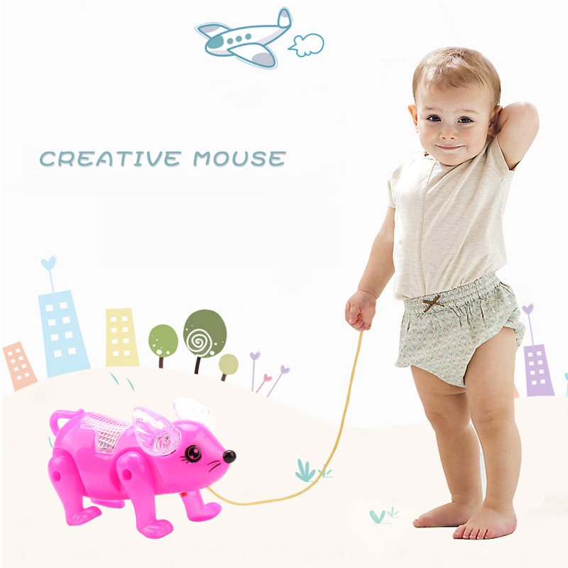 Funny LED Light Leash Mouse Toy Kids Electric Robot Walking Musical Glowing Pets Rat Classic Toys For Children Birthday Gifts