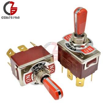 E-TEN(C) 1322 czerwony przełącznik dwupozycyjny wału 31.5*19.5MM czerwony 6Pin On-Off-On przełącznik srebrny stycznik 250V 16A na głośnik samochodowy PC