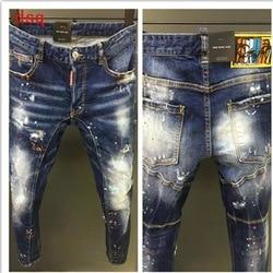 Herren Jeans Männer Kurze Jeans Stilvolle Zerrissene Jeans Moto & Biker Dünne Kurze Jeans Männer Gerade Denim Zipper Fly Knie länge
