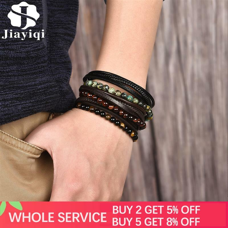 Jiayiqi Multilayer Bracelet Natural Stone Genuine Leather Braided Wrap Bangle Stainless Steel Magnetic Clasp Bracelet MenJewelry