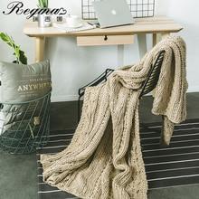 REGINA Khaki Beige Wool Weight Blanket Twist Stripe Thick Yarn Bed Sofa Chunky Knit Blanket Home Decor Crochet Soft Summer Quilt