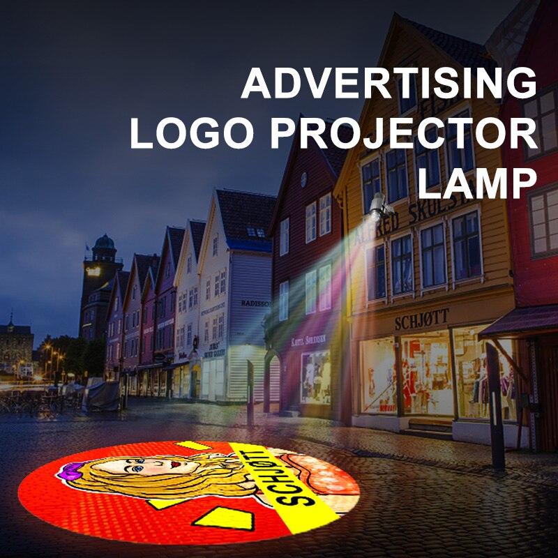 Yufan personalizado led hd interior projetor cabeça da porta ao ar livre à prova dwaterproof água girando publicidade imagem lâmpada de projeção gobo logotipo projetor