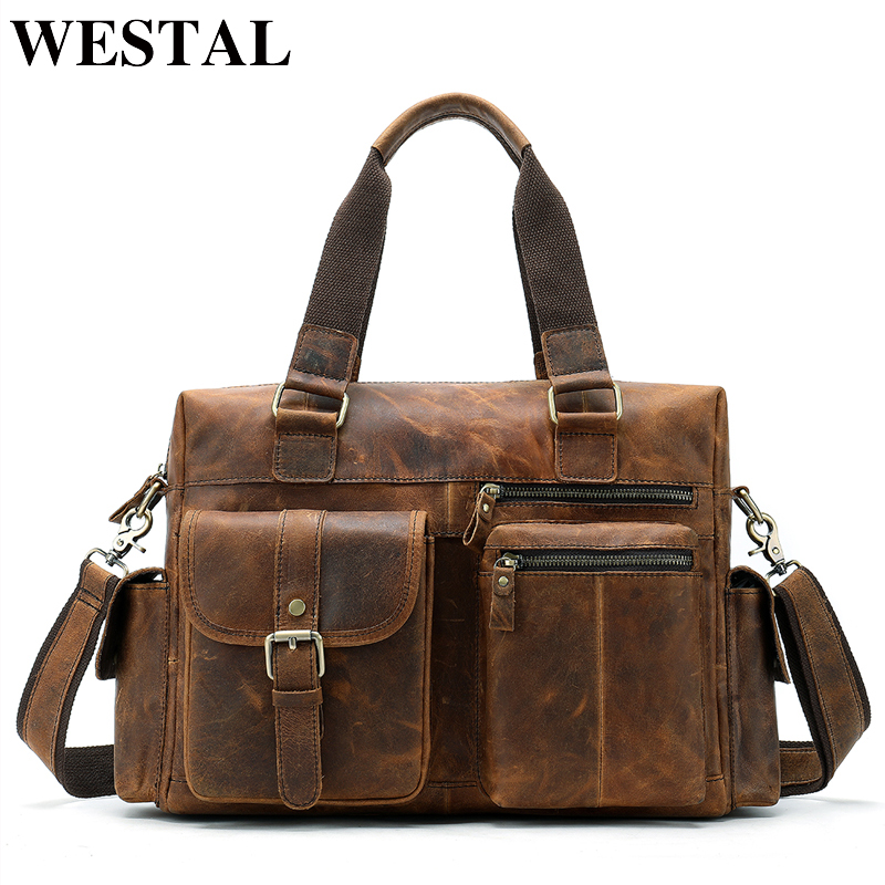 WESTAL men's briefcase leather laptop bag men shoulder bag male briefcases handbags office bags for men business porte document