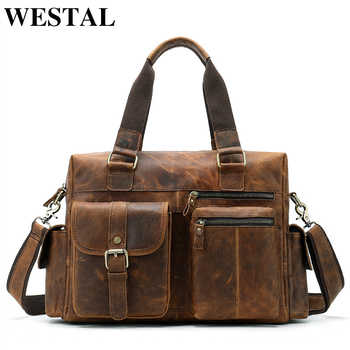 WESTAL men's briefcase leather laptop bag men shoulder bag male briefcases handbags office bags for men business porte document - DISCOUNT ITEM  48% OFF All Category