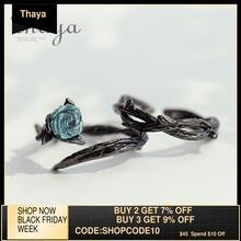 Thaya Rose épines s925 argent anneaux bleu cristal Rose fleur Vintage plante saint valentin cadeau pour les femmes noeud noir Fine bijoux