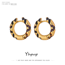Yhpup Luxury Shiny Cubic Zirconia Round Hollow Hoop Earrings for Women Charm Metal 14 k Plated Copper Exquisite Earrings 2020