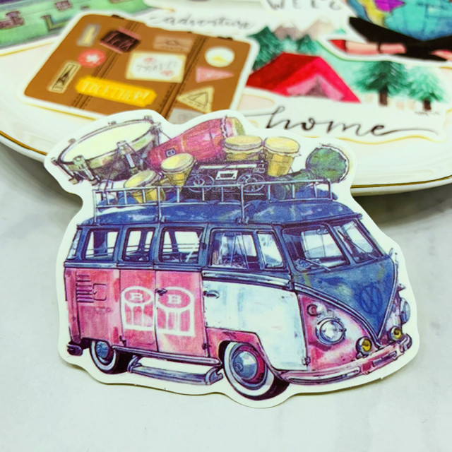 24PCSCar travel Stickers Crafts And Scrapbooking stickers book Student label Decorative sticker DIY Stationery
