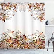 Flower Decor Collection Dragonfly Floral Pastoral Wings for Women Girls and Teens Polyester Fabric Bathroom Shower Curtain Set(China)