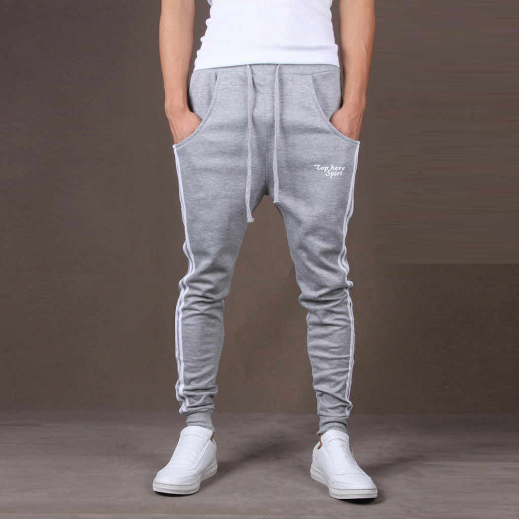 Pria Splicing Dicetak Overall Celana Jogging Hip Hip Streetwear Olahraga Bekerja Celana Jogging Kantong Celana Harem Celana Pria